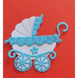 Wózek Biały z niebieskimi...