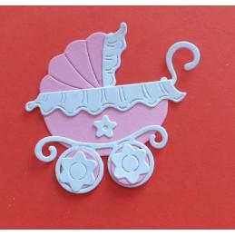 Wózek różowy z białymi...