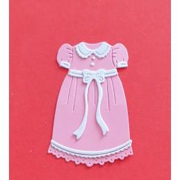 Różowa sukienka z białymi...